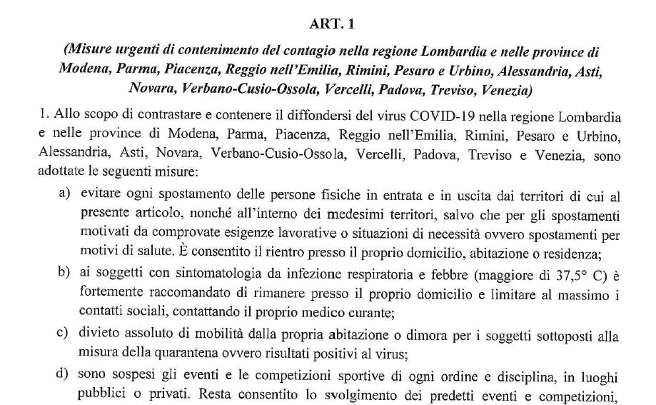 PROVINCE INTERESSATE DECRETO CORONAVIRUS
