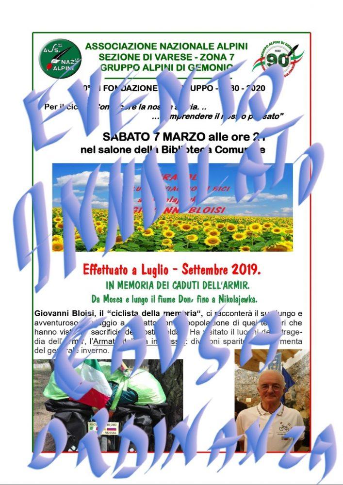 Associazione Nazionale Alpini Gemonio,annullato evento a Gemonio