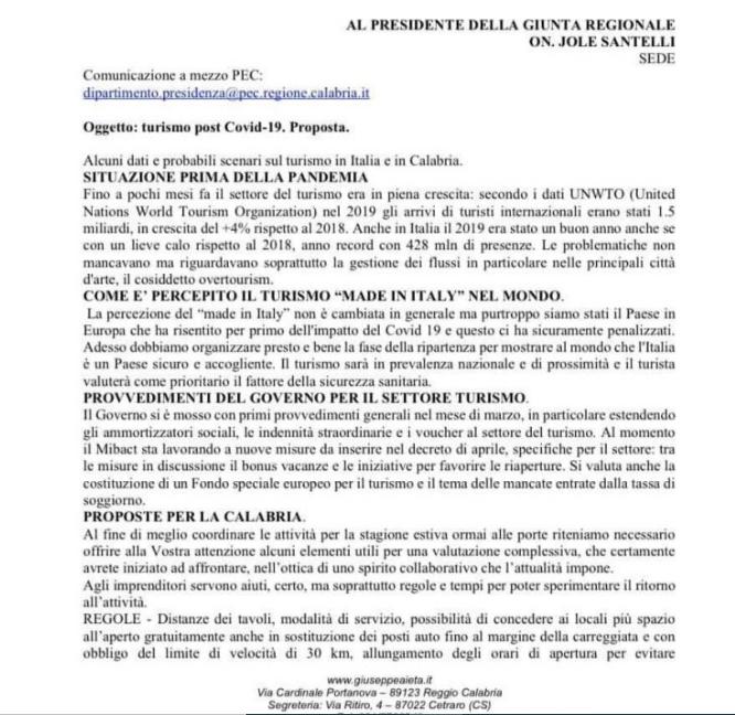 lettera alla presidente Santelli