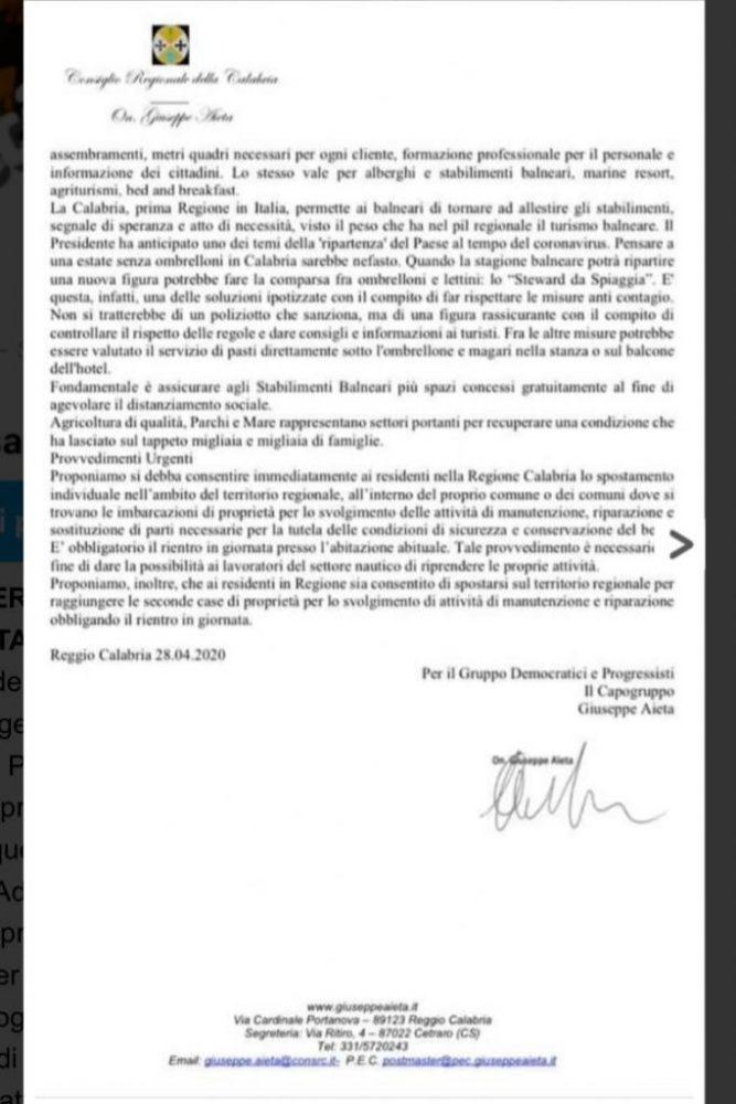 lettera alla presidente Santelli 2